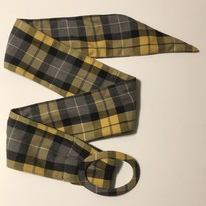Accessories - Yellow and navy plaid fabric belt with oval buckle